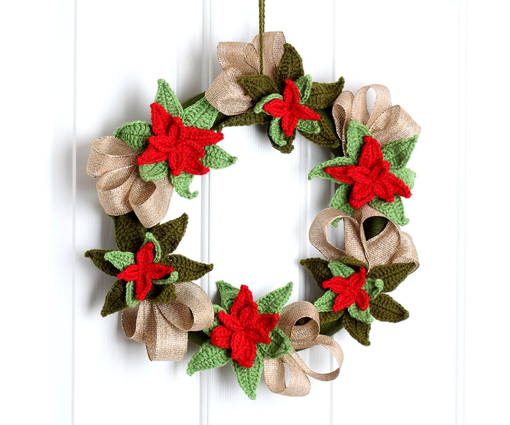 Free Crochet Pattern Christmas Poinsettia Wreath – Yarn Twist
