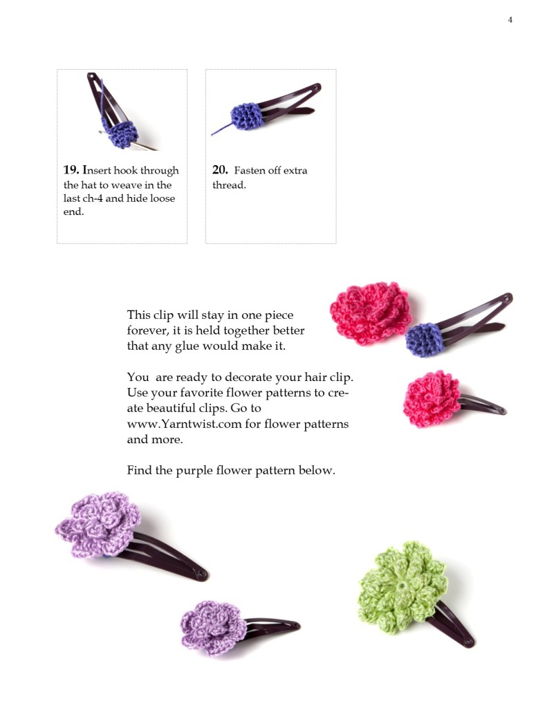 Hair clip with Crochet flower pattern