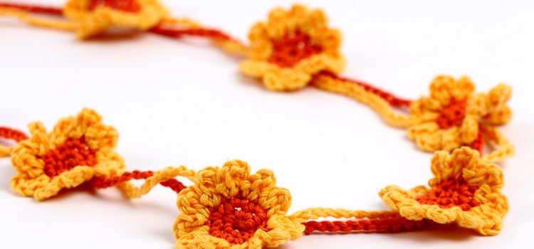 Free Crochet Pattern Sunflowers Necklace